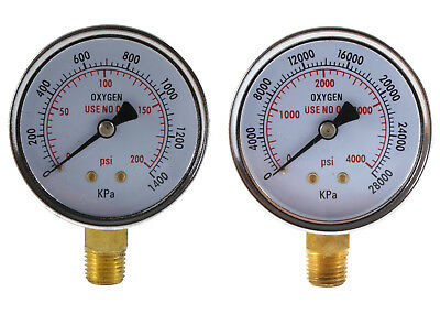 Low And High Pressure Gauges For Oxygen Regulator - 2.5 Inches Pair