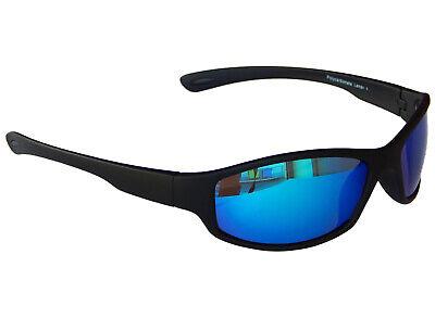 Sonnenbrille Sportbrille Radbrille Schwarz mit Blau verspiegelten Gläsern M 6