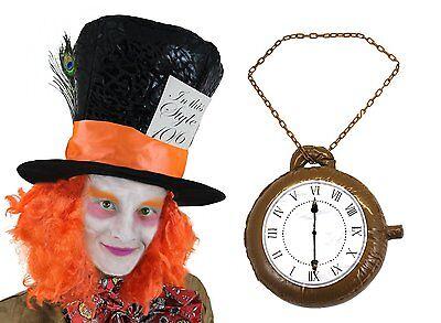 Arancio di Cappello Del Cappellaio Matto Parrucca Vestito & Grande Orologio