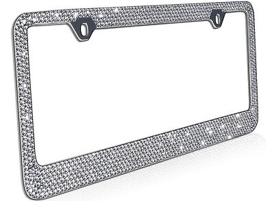 Metal License Plate Frame Bling RhineStones Chrome Swarovski Crystal Diamond - C