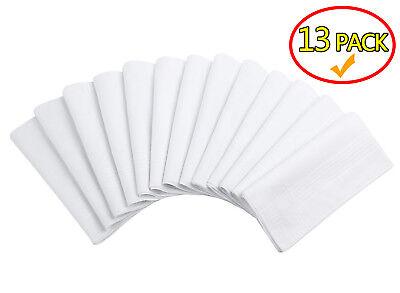 "13x Soft Handkerchief Plain White 100% Cotton Mens & Women Handkerchiefs 16""X16"""