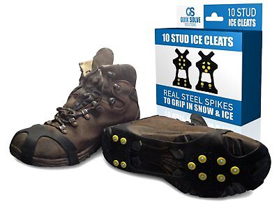 Quik Solve Ice Snow Traction Shoe Boot Cleats - No Slip Gripper Spikes (S - XL)