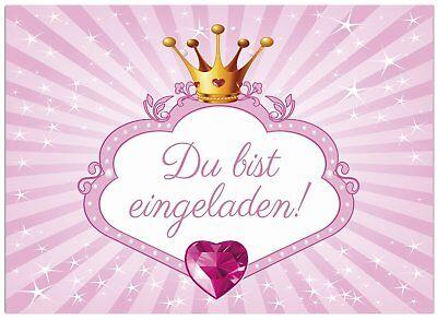 16 Einladungskarten Kindergeburtstag Prinzessin,Krone,Rosa, Einladung Mädchen ()
