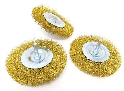 3 Pk 4 Inch Wire Brush Drill Wheel Attachment 14 In. Shank Brass-coated Wire