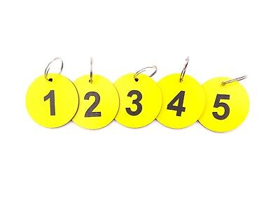 Circular Yellow, Key Rings, Key Fobs, Key Tags - Numbered 1 to 5 Large Size 53mm