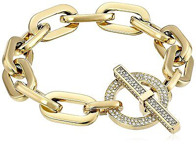 NWT Michael Kors MKJ4586710 Gold Pave Crystals Chain Bracelet  $145.00