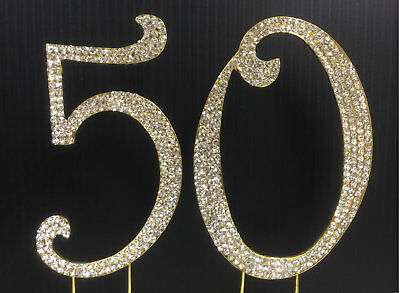NEW Large Rhinestone Gold NUMBER(50) Cake Topper 50th Birthday Party Anniversary
