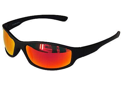 Sonnenbrille Sportbrille Black Schwarz mit Rot Red verspiegelten Gläsern M 6