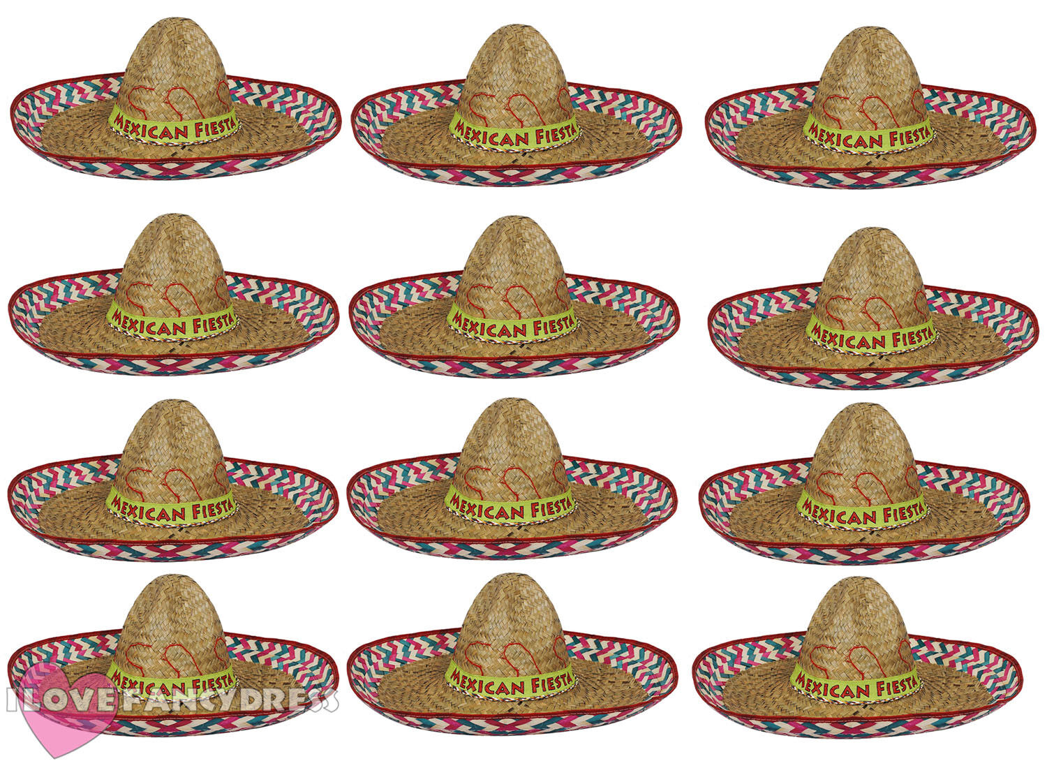 437a568b589 Details about PACK OF 12 MEXICAN FIESTA SOMBRERO HAT WILD WEST FANCY DRESS  COSTUME ACCESSORY