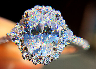 1.5 ct Extra Brilliant Oval Halo Ring Russian Quality CZ Moissanite Simulant S 4