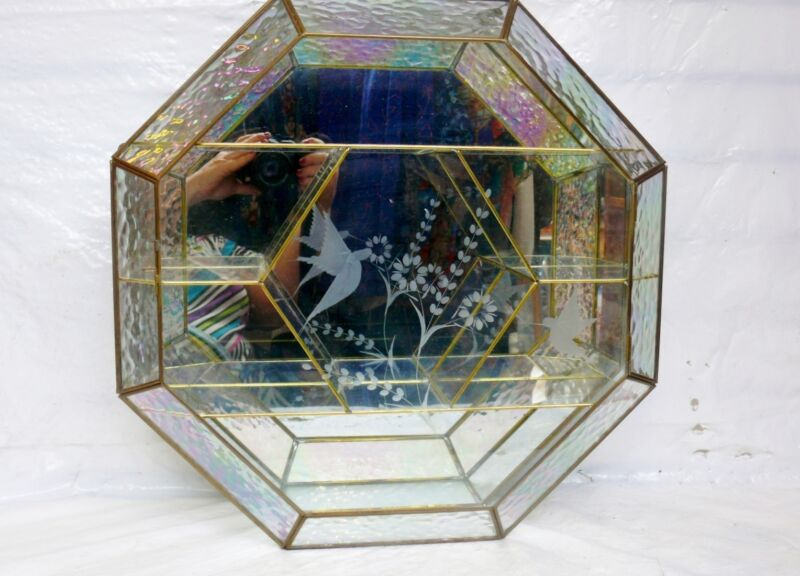 Vintage Brass Iridescent Glass Etched Hummingbird Mirrored Curio Cabinet Octagon