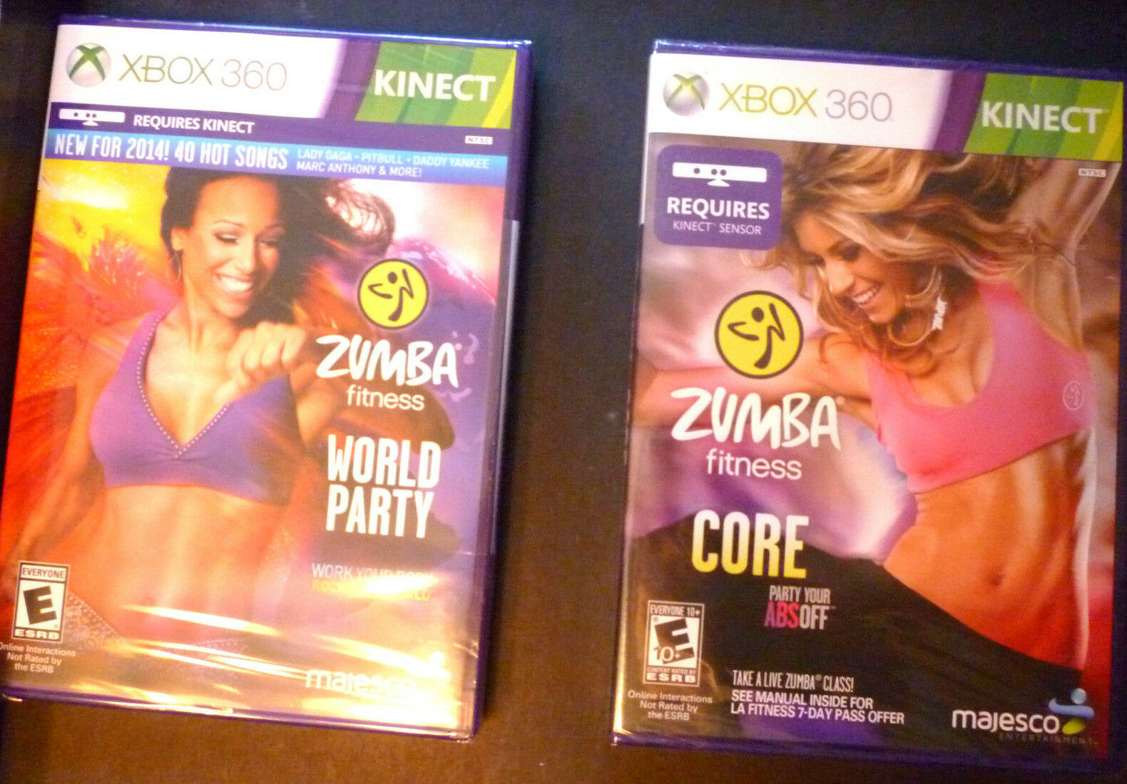 Two Xbox 360 Zumba Games-fitness World Party & Fitness Core