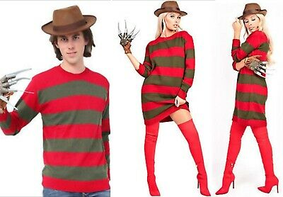 Freddy Krueger Sweater Dress (UK Womens Freddy Krueger Halloween Knitted Stripe Jumper Costume Fancy Dress)