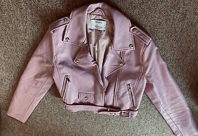 Bershka Pink Faux Leather Cropped Moto Jacket. Size S. Never Worn.