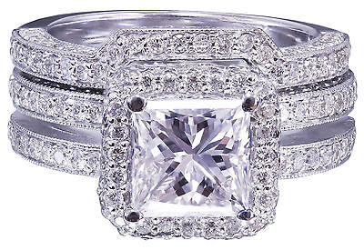 GIA G-VS2 14K white gold princess cut diamond engagement ring and band 2.50ctw 11