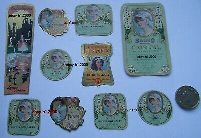 10  GLORIOUS !  ORIGINAL   ANTIQUE  UNUSED ART NOUVEAU  PERFUME  BOTTLE LABELS