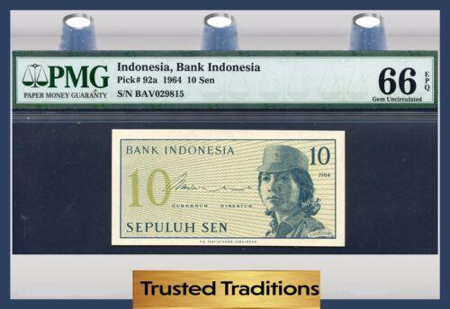TT PK 92a 1964 INDONESIA 10 SEN PMG 66 EPQ GEM UNCIRCULATED