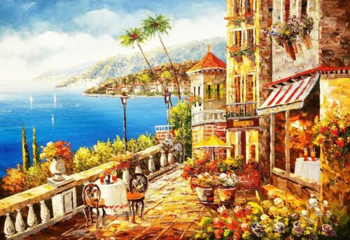 Mediterranean Cafe #2-006A3,  24x36 100% Hand Painted Oil Painting on Canvas,