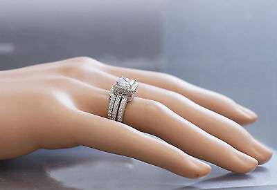GIA G-VS2 14K white gold princess cut diamond engagement ring and band 2.50ctw 1