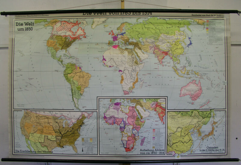 Schulwandkarte Wall Map School Map Earth World Map 1783-1914 World 202x132