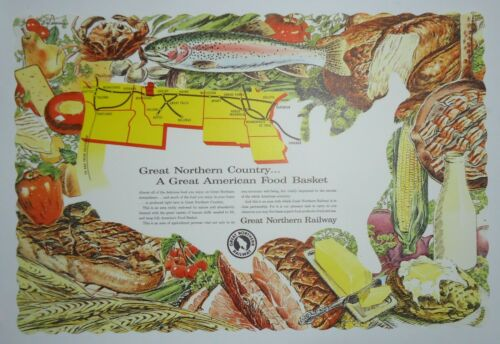 "Great Northern Railway Paper Place Mat - 10-1/2x15""  -  unused"