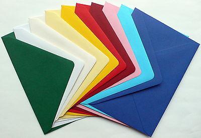 50 Briefhüllen farbig DIN A6 bunt 11 x 15,5 cm Briefumschläge 10 Farben sortiert