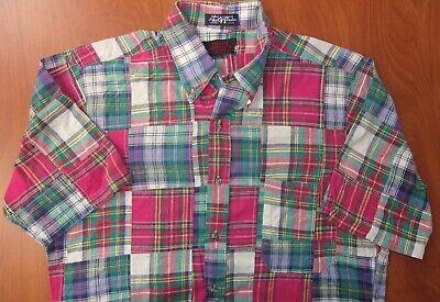 Vintage O'Connell Lucas-Chelf India Madras Plaid Patchwork Camp Shirt M ~USA~ Patchwork Camp Shirt