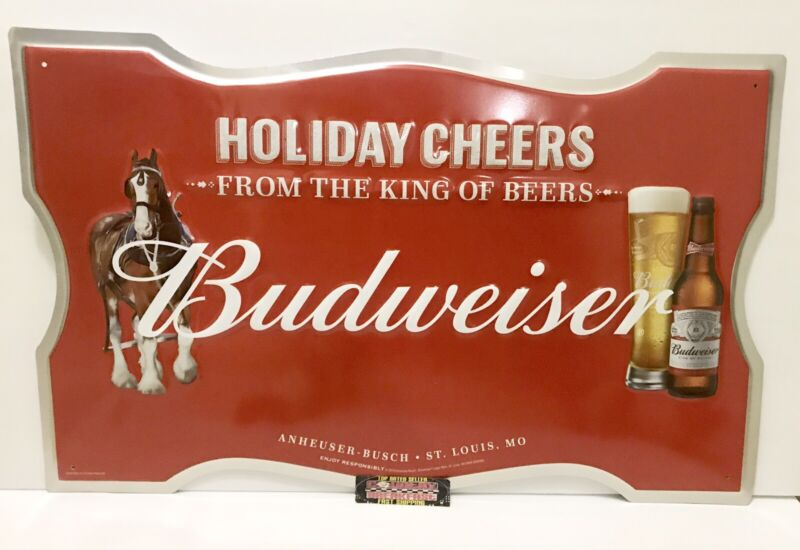 """Budweiser Holiday Cheers Clydesdales Metal Beer Sign 24x15"""" - Brand New In Box!"""