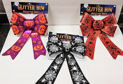 """Glitter Bows Large 13x9"""" Halloween Spiders & Pumpkin 3 Colors to Choose  B137"""