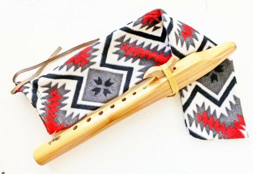 "Kokopelli Native American Wood Flute 6 Hole 16.5"" Bird Totem G# w Carry Case"