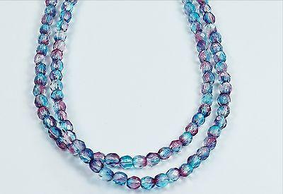 50 Aqua/Fuchsia Czech Firepolished Faceted Round Glass Beads 4mm