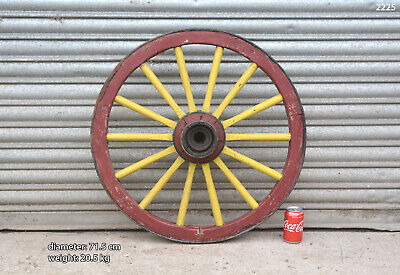 Vintage old wooden cart wagon wheel  / 71.5 cm - 20.5 kg - FREE DELIVERY