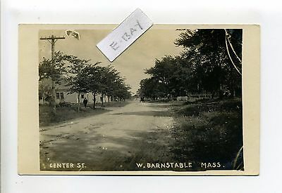 Cape Cod MA Mass West Barnstable RPPC real photo Center Street view, person