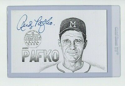 Andy Pafko Milwaukee Braves Signed Auto 4x6 Baseball Art Card Autograph