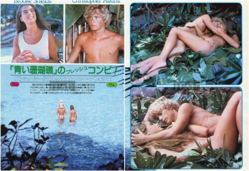 BROOKE SHIELDS CHRISTOPHER ATKINS Blue Lagoon 1980 Japan Clippings 2-SHEETS oa/r
