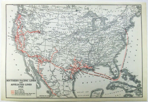 Southern Pacific Lines Railroad - Original 1927 Route Map. Vintage