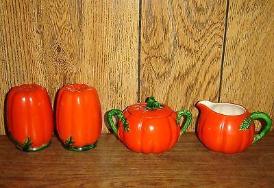Vtg Occupied Japan Tomato Table Set Creamer Sugar Bowl Salt & Pepper Shakers 4pc for sale  Naselle