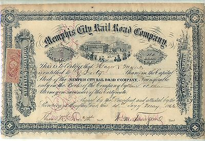 Memphis City Rail Road Company Stock Certificate