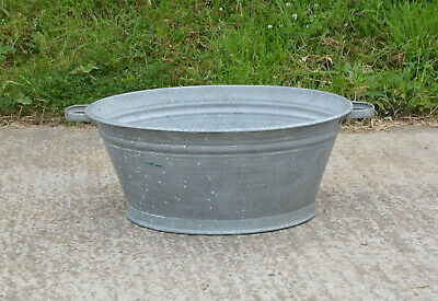 69.5 cm - old vintage galvanized washing bowl bath - FREE POSTAGE