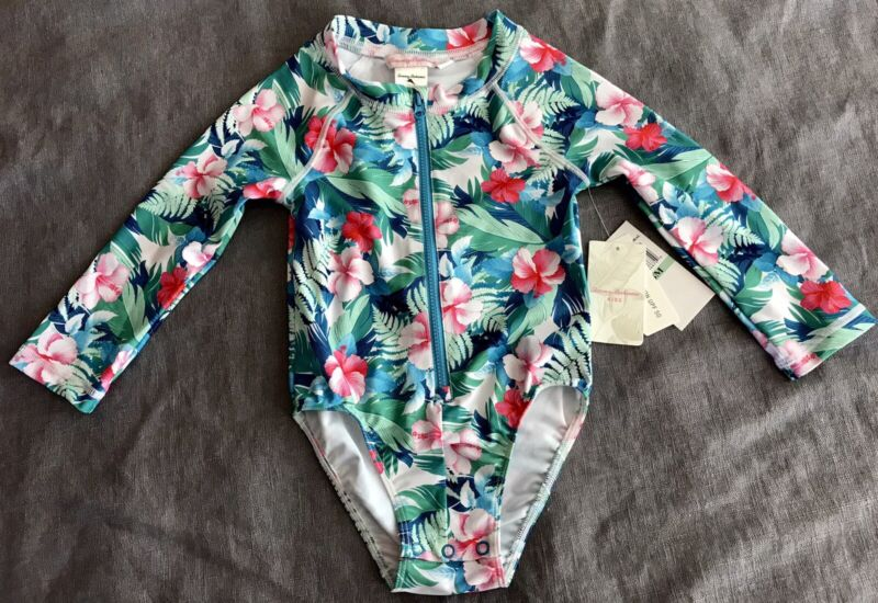 TOMMY BAHAMA Kids Baby Tropical Zip Up Long Sleeve UPF 50 Swimsuit 18 Months NWT