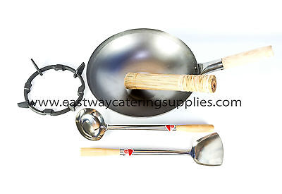 COMMERCIAL QUALITY ORIENTAL CARBON STEEL WOKS FLAT/ROUND BOTTOM+MORE