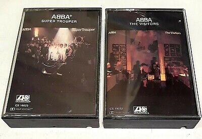 ABBA - THE VISITORS + SUPER TROUPER (2 CASSETTE LOT) 1ST USA PRESS DISCO rare