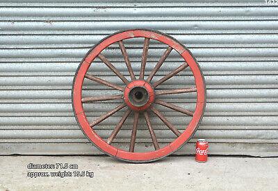 Vintage old wooden cart wagon wheel  / 71.5 cm - 19.5 kg - FREE DELIVERY