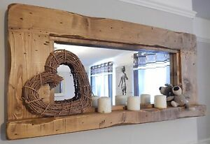 Large reclaimed Wood Rustic Farmhouse Mirror with candle shelf light oak colour