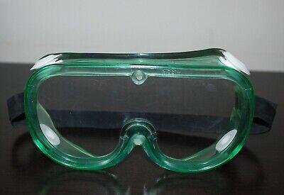 Unisex Laboratory Lab Safety Green Goggles Adjustable Strap Protective Eyewear