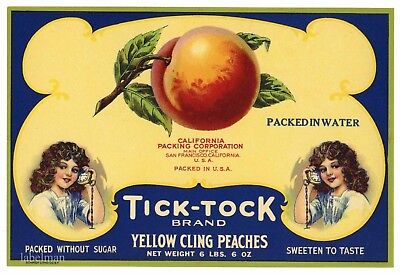 Tick Tock Brand  Vintage Peaches  An Original 1920 S Tin Can Label  473 Sq