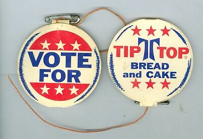 2 1940's/1950's Vote For Tip Top Bread & Cake Cardboard Advertising Pins