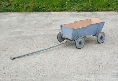 Vintage old wooden children's trolley pull along hand cart wagon - FREE DELIVERY