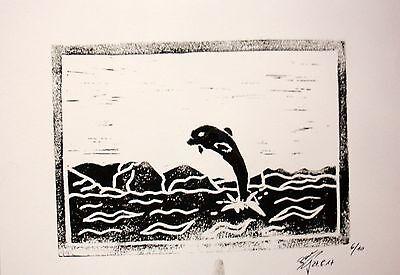 Linoldruck  Delphin 3