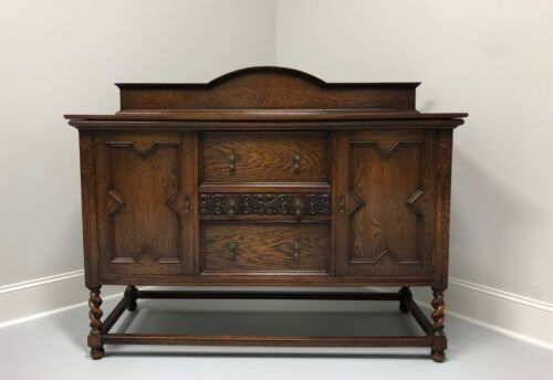 Antique Jacobean Revival Tiger Oak Barley Twist Sideboard